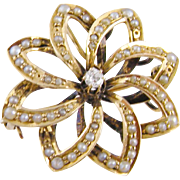 Antique 14 Kt Gold Seed Pearls  CENTER DIAMOND Pinwheel Brooch Pendant