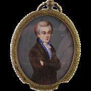 Antique 1800's Gentleman Standing  Signed in Bronze Frame  MINIATURE PORTRAIT