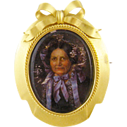 Antique Charming American Woman  in 14 KT GOLD FRAME Brooch Miniature Portrait