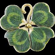 Charming Vintage 14 Kt GOLD GREEN ENAMEL 4 Leaf Clover Large Pendant Brooch