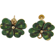 Charming Vintage 14 Kt Gold Green Enamel Work  4 LEAF CLOVER EARRINGS