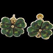 Charming Vintage 14 Kt Gold Green Enamel Work  4 LEAF CLOVER EARRINGS