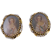Charming Antique 14 Kt GOLD SEED PEARLS Miniature Portraits Earrings