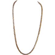Antique 14 Kt Gold 23 Inch Long Double Link  CHAIN