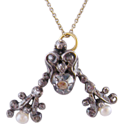 Vintage 14 Kt Gold with silver  and ROSE CUT DIAMONDS and Fresh Water Pearls Pendant