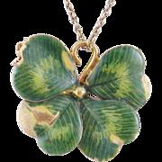 charming Vintage 14 Kt Gold  GREEN ENAMEL 4 Leaf Clover Pendant Brooch