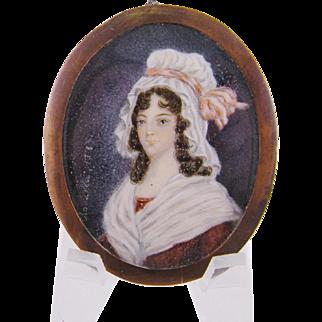 Antique  PRINCESS CLOTHILDE Signed Framed Miniature Portrait