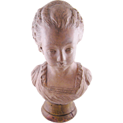 Antique  FRENCH TERRA COTTA on Wood Plinth Beautiful Young Woman Bust signed LeBrun