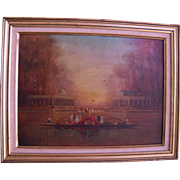 Antique French 1800'S Painting on Board  in Gilt Frame  VERSAILLES PARTY