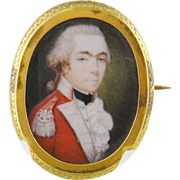 Antique English Circa 1770 Modest School Miniature Portrait of a  MILITARY GENTLEMAN  by THOMAS DAY