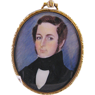 Antique AMERICAN 1840 Gentleman in Black Jacket  MINIATURE PORTRAIT Locket Frame