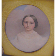 Antique 1856 American Pennsylvania Miniature Portrait Woman  of MARY CLARK LEA by JOHN HENRY BROWN