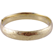Fine Vintage 14 Kt Gold Engraved  BANGLE BRACELET