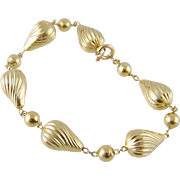 Fine Vintage Estate 14 Kt Gold Tear Drop  and BEAD BRACELET