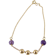 Fine Vintage Estate 14 Karat Gold with Beads and  AMETHYSTS BRACELET