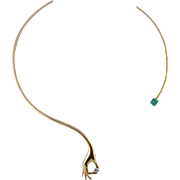 Fabulous Modern Estate Piece Rigid 14 Kt Gold with Diamond  in HAND and EMERALD NECKLACE