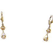 Antique 14 Kt Gold  ROSE CUT Diamonds Lever Back Earrings