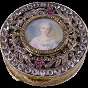 Antique Austrian White Sapphires ROSE CUT DIAMONDS Miniature Portrait Box