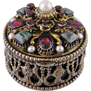 Antique Austro Hungarian EMERALDS and GARNETS Sterling Silver Miniature Box