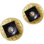 Antique 18 Kt  FRENCH HALLMARKED Gold With Black Onyx and Rose Cut Diamonds Earrings