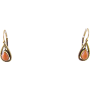 Antique  ART DECO 14 KT Gold Coral Bead Tear Drop Earrings