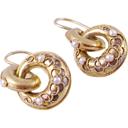 ANTIQUE 15 Kt GOLD with Split Pearls and Double Drop Earrings