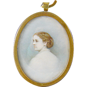 Antique 1800's Signed Listed Artist OTTO ECKHARDT Miniature Portrait of a Young Woman