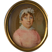 Antique 1800's Realistic Miniature Portrait of a  WOMAN in PINK with White Cap