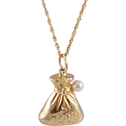 Fine Estate 14 Kt Gold Money Bag with Akoya  PEARL PENDANT on Chain Necklace