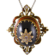 ANTIQUE 14 Kt Gold Large Garnet  and  Diamonds and Seed Pearls  ENAMEL PENDANT