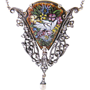 Antique Art Nouveau  Sterling Silver and Gold  w Rose Cut  DIAMONDS and ENAMEL Pendant on Chain
