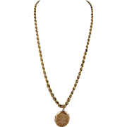 Antique 14 Kt Gold 20 Inch  Chain and 14 kt Gold  ENGRAVED LOCKET Pendant