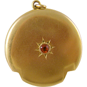 Antique 14 Kt Gold with SPESSARTITE Center GARNET Locket  Pendant