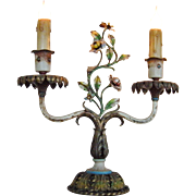 Charming ANTIQUE FRENCH Painted Tole Floral Candelabra Lamp