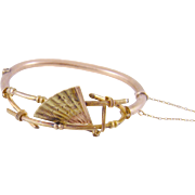 Superb Antique 14 Kt Gold Grand Period  FAN BANGLE Bracelet