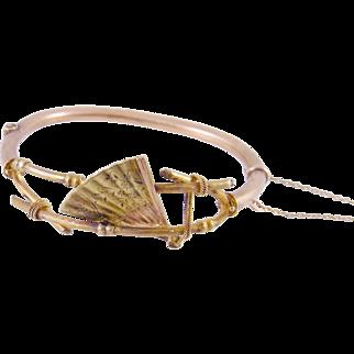Superb Antique 14 Kt Gold Grand Period  FAN BANGLE Bracelet