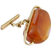Antique Victorian 14 Kt Gold Large  CARNELIAN Watch FOB