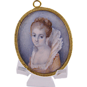Antique  MINIATURE PORTRAIT Beautiful English Woman in Elizabethan Gown