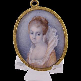 Antique  MINIATURE PORTRAIT Beautiful English Woman in Elizabethan Gown