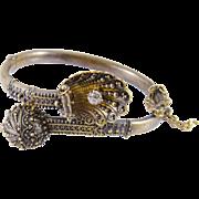 Antique 15 Kt Gold  with 1/3 Carat European Cut Diamond  Shell  FANTASY BANGLE BRACELET