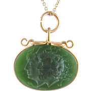 Antique Victorian LK Gold CARVED  NEPHRITE JADE of Poseiden and Other  Watch Fob Pendant