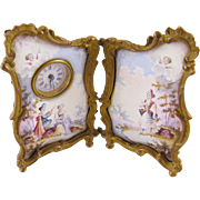 Antique  VIENNESE AUSTRIAN ENAMEL Miniature Screen with Pastoral Scenes and Winged Cherubs Clock