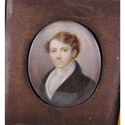 Antique ENGLISH  MINIATURE PORTRAIT of a Young Man in Green Jacket Beautifully Painted
