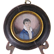 Antique 1820 MINIATURE PORTRAIT of a Young Man wearing a Blue Jacket