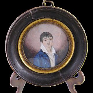 Antique 1820 MINIATURE PORTRAIT of a Young Man wearing a Blue Jacket