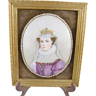 Antique Porcelain Painting  of MARY QUEEN of SCOTS with Seed Pearls Surround and Frame