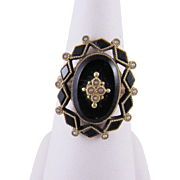 Antique 10 Karat Gold Black Enamel with Seed  PEARLS RING