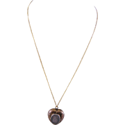 Antique 14 Kt Gold Memorial  HEART PENDANT on 12 Karat Gold Chain