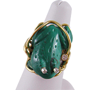 Superb Vintage 14 Kt Gold Carved Malachite with DIAMONDS FROG RING