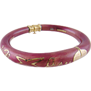 Superb la NOUVELLE BAGUE 18 Kt Gold Silver Rose Enamel Bangle Bracelet